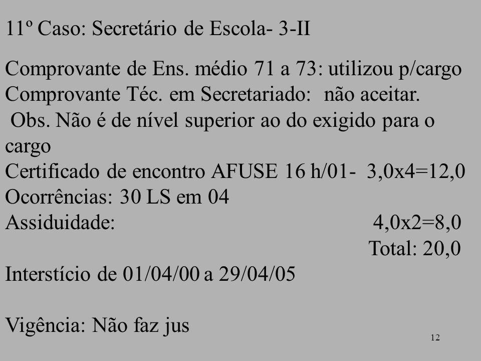 12 11º Caso: Secretário de Escola- 3-II Comprovante de Ens. médio 71 a 73: utilizou p/cargo Comprovante Téc. em Secretariado: não aceitar. Obs. Não é