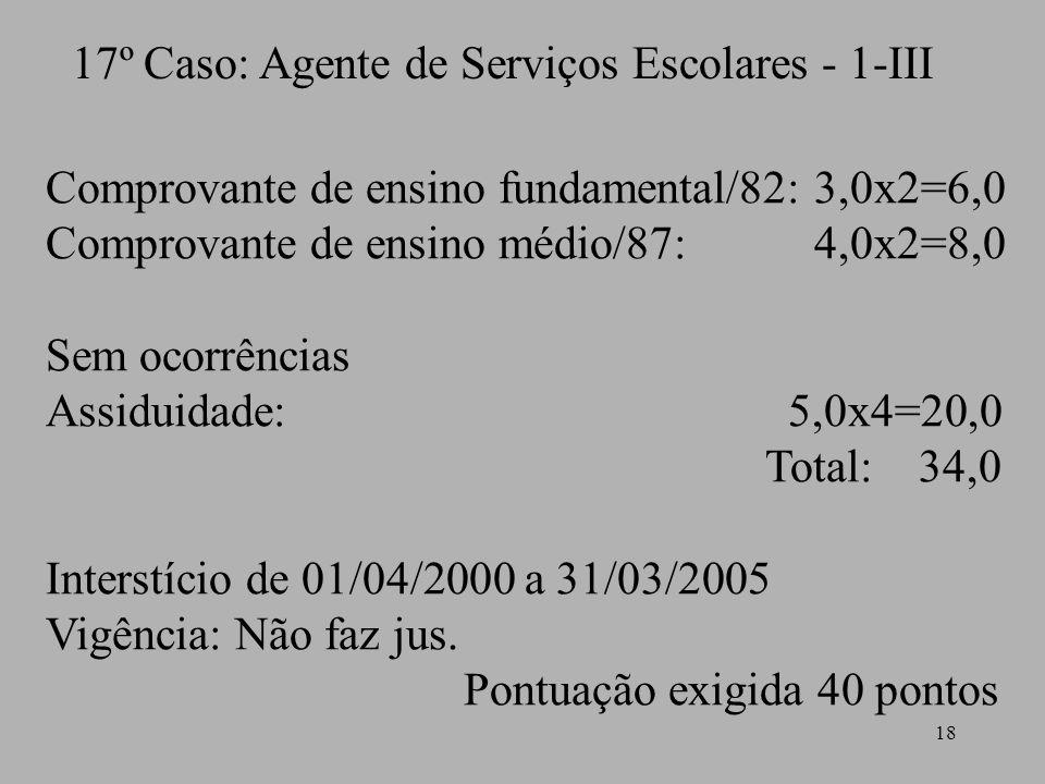 18 17º Caso: Agente de Serviços Escolares - 1-III Comprovante de ensino fundamental/82: 3,0x2=6,0 Comprovante de ensino médio/87: 4,0x2=8,0 Sem ocorrê
