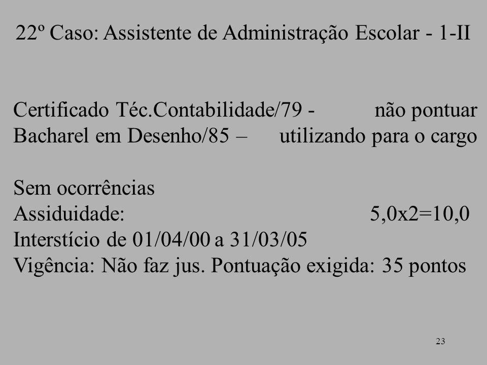 23 22º Caso: Assistente de Administração Escolar - 1-II Certificado Téc.Contabilidade/79 - não pontuar Bacharel em Desenho/85 – utilizando para o carg