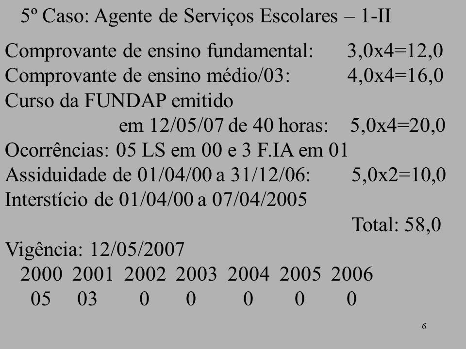 6 5º Caso: Agente de Serviços Escolares – 1-II Comprovante de ensino fundamental: 3,0x4=12,0 Comprovante de ensino médio/03: 4,0x4=16,0 Curso da FUNDA