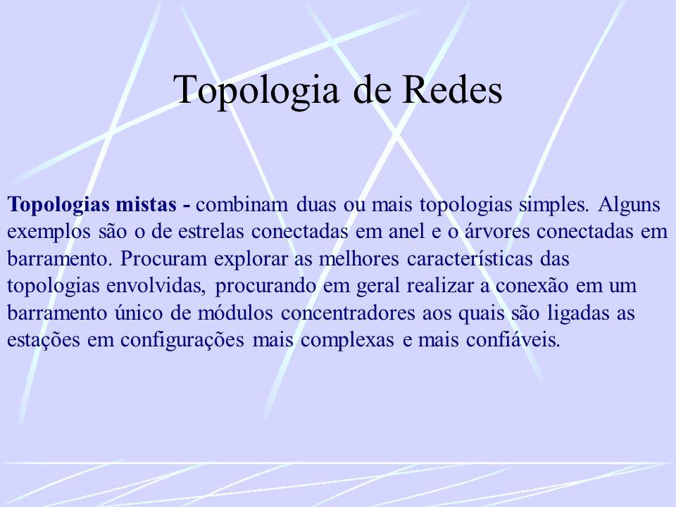 Topologia de Redes Topologias mistas - combinam duas ou mais topologias simples. Alguns exemplos são o de estrelas conectadas em anel e o árvores cone
