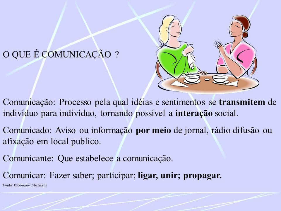 Comunicação: Processo pela qual idéias e sentimentos se transmitem de indivíduo para indivíduo, tornando possível a interação social. Comunicado: Avis