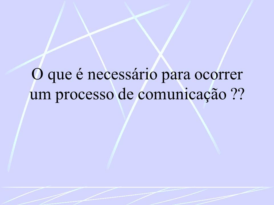 O que é necessário para ocorrer um processo de comunicação ??