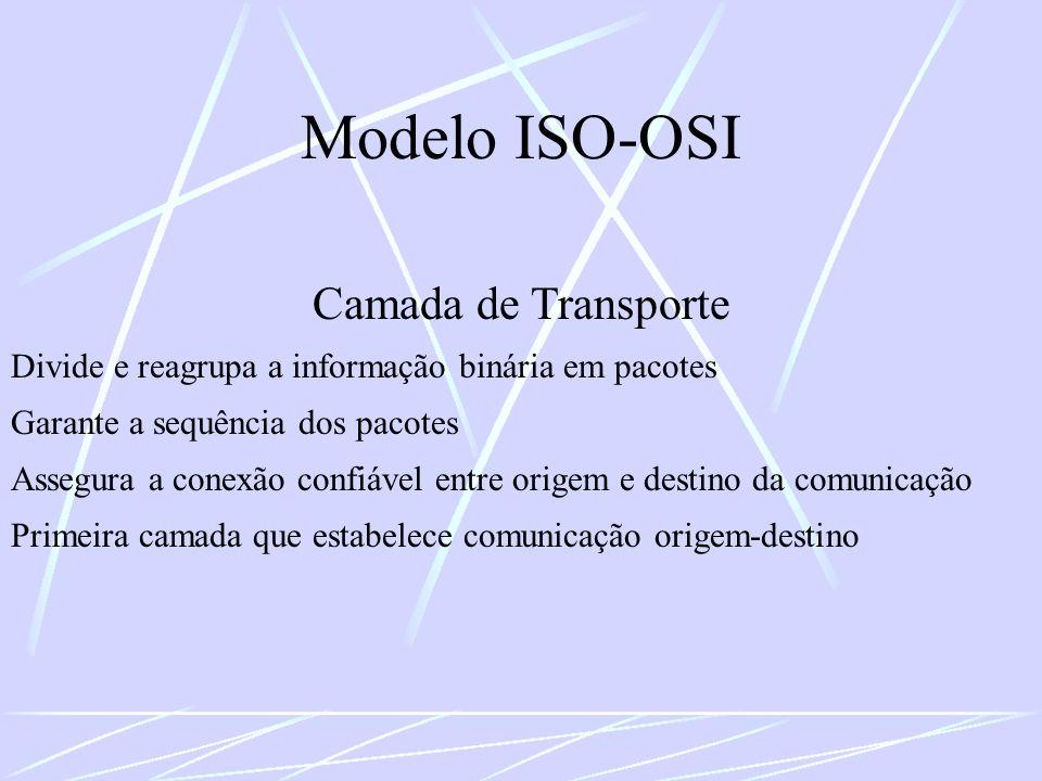 Modelo ISO-OSI Camada de Transporte Divide e reagrupa a informação binária em pacotes Garante a sequência dos pacotes Assegura a conexão confiável ent