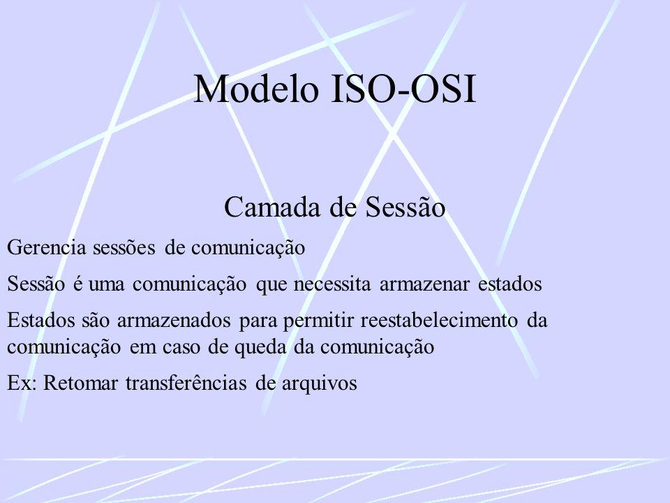 Modelo ISO-OSI Camada de Sessão Gerencia sessões de comunicação Sessão é uma comunicação que necessita armazenar estados Estados são armazenados para