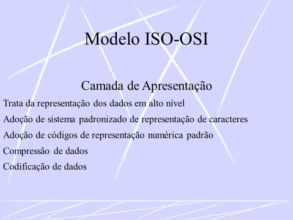 Modelo ISO-OSI Camada de Apresentação Trata da representação dos dados em alto nível Adoção de sistema padronizado de representação de caracteres Adoç