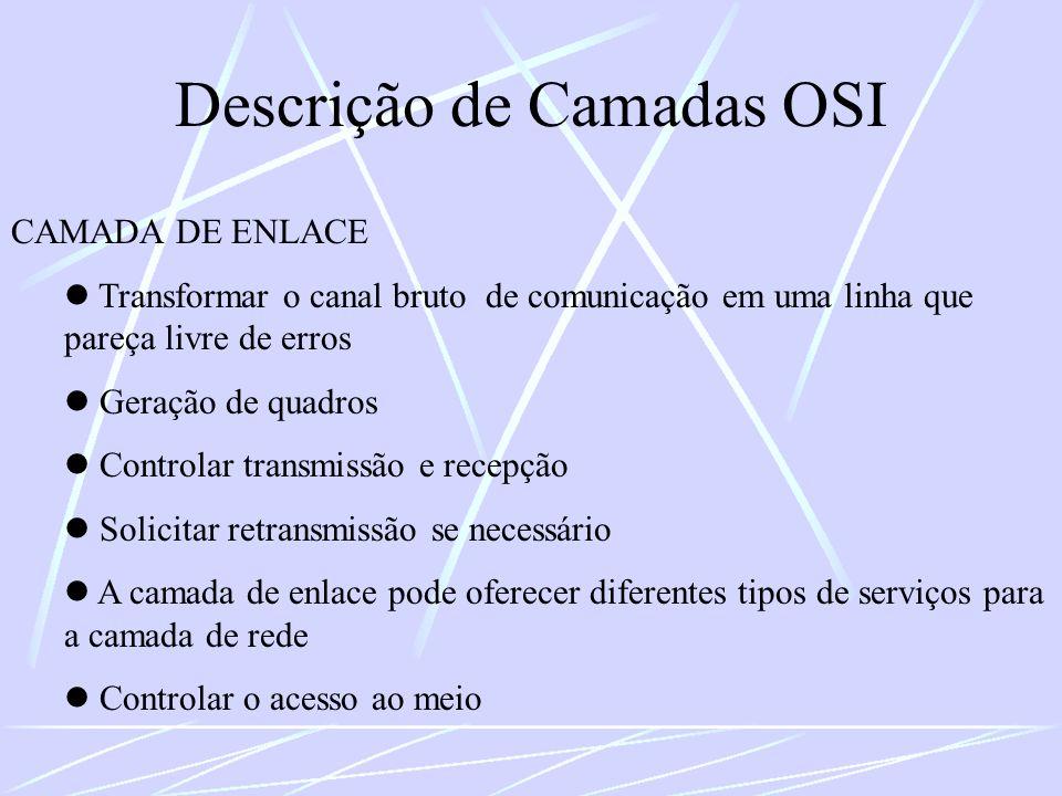 CAMADA DE ENLACE Transformar o canal bruto de comunicação em uma linha que pareça livre de erros Geração de quadros Controlar transmissão e recepção S
