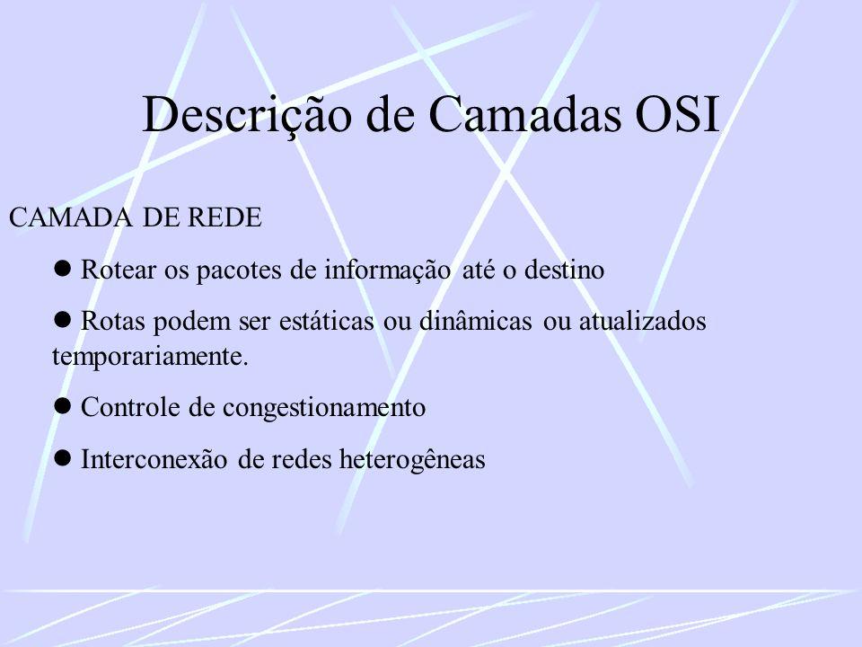 Descrição de Camadas OSI CAMADA DE REDE Rotear os pacotes de informação até o destino Rotas podem ser estáticas ou dinâmicas ou atualizados temporaria