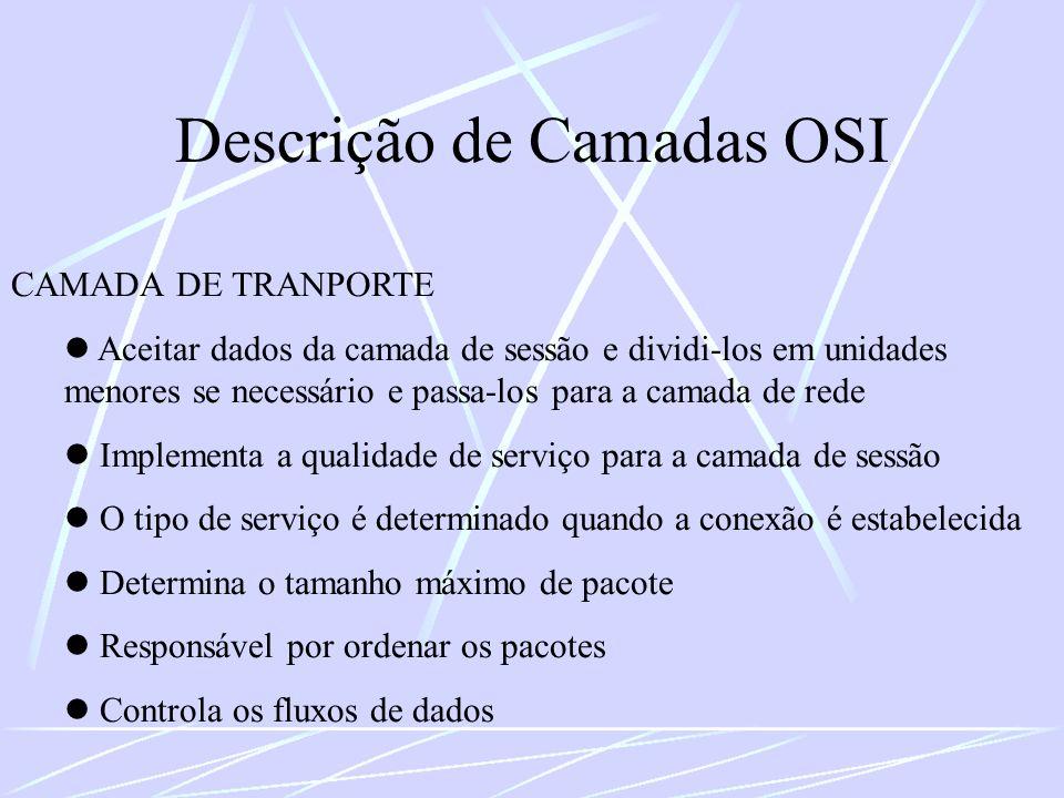 Descrição de Camadas OSI CAMADA DE TRANPORTE Aceitar dados da camada de sessão e dividi-los em unidades menores se necessário e passa-los para a camad