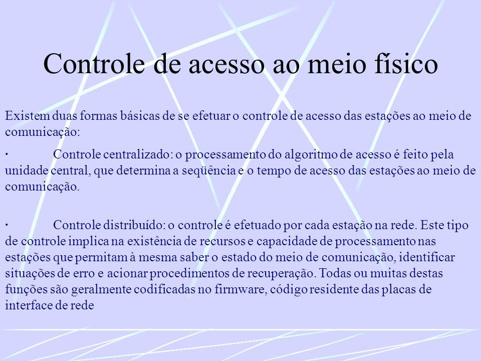 Controle de acesso ao meio físico Existem duas formas básicas de se efetuar o controle de acesso das estações ao meio de comunicação: ·Controle centra