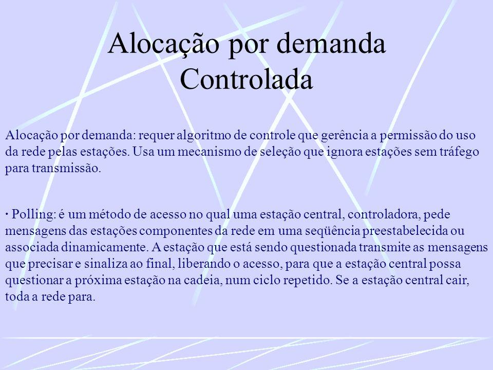 Alocação por demanda Controlada Alocação por demanda: requer algoritmo de controle que gerência a permissão do uso da rede pelas estações. Usa um meca