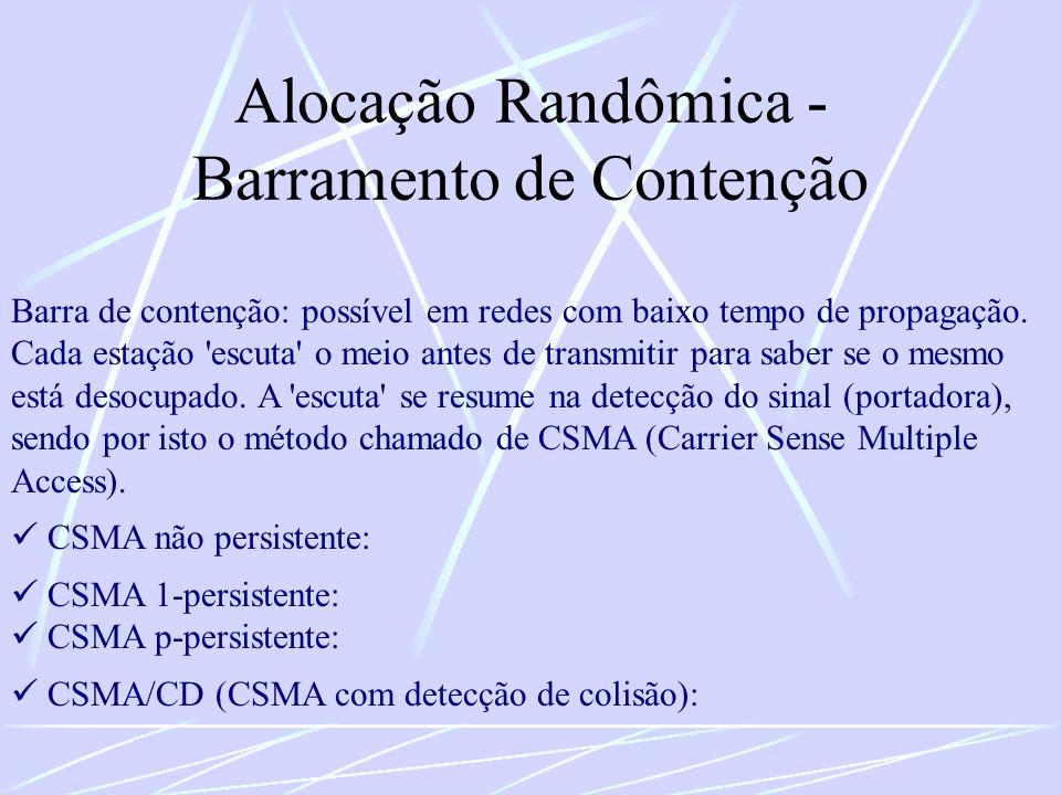 Alocação Randômica - Barramento de Contenção Barra de contenção: possível em redes com baixo tempo de propagação. Cada estação 'escuta' o meio antes d