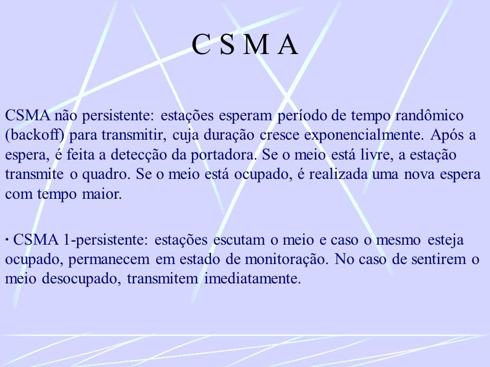C S M A CSMA não persistente: estações esperam período de tempo randômico (backoff) para transmitir, cuja duração cresce exponencialmente. Após a espe