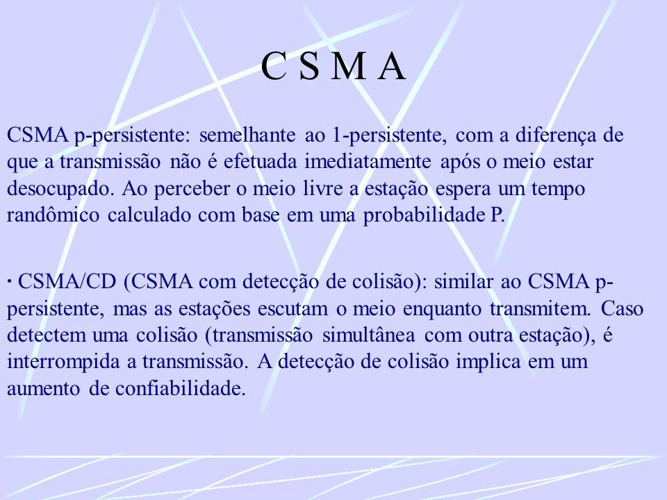 C S M A CSMA p-persistente: semelhante ao 1-persistente, com a diferença de que a transmissão não é efetuada imediatamente após o meio estar desocupad