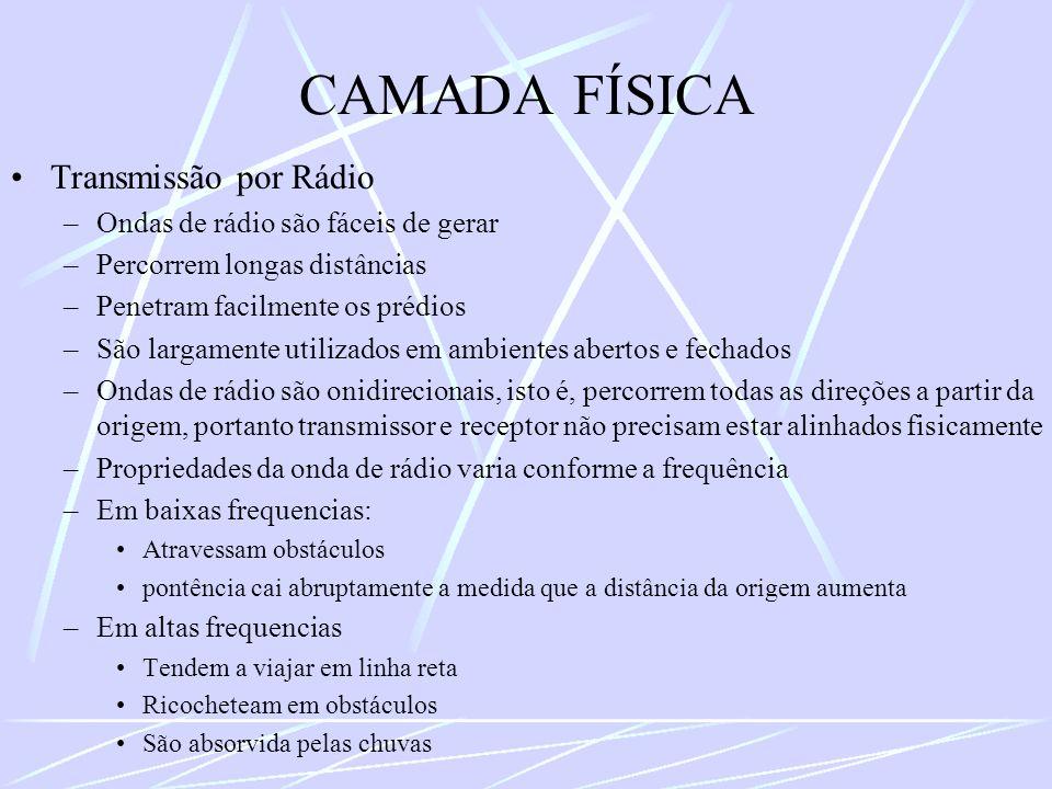 CAMADA FÍSICA Transmissão por Rádio –Ondas de rádio são fáceis de gerar –Percorrem longas distâncias –Penetram facilmente os prédios –São largamente u