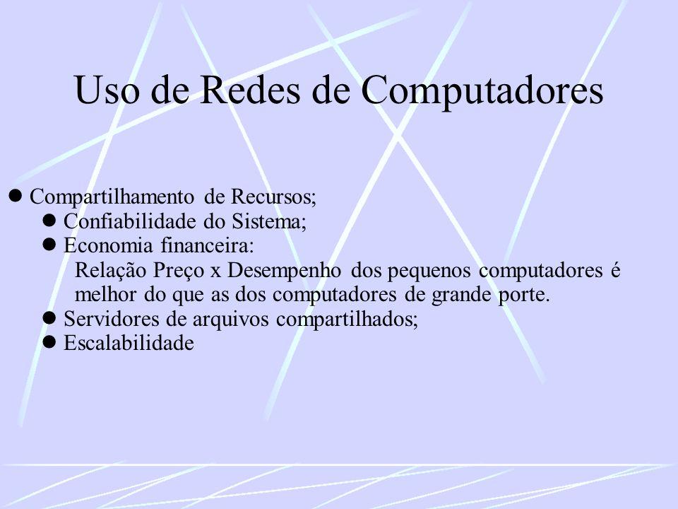 Uso de Redes de Computadores Compartilhamento de Recursos; Confiabilidade do Sistema; Economia financeira: Relação Preço x Desempenho dos pequenos com