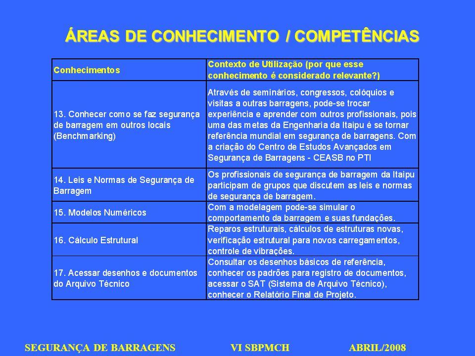 SEGURANÇA DE BARRAGENS VI SBPMCH ABRIL/2008 ÁREAS DE CONHECIMENTO / COMPETÊNCIAS