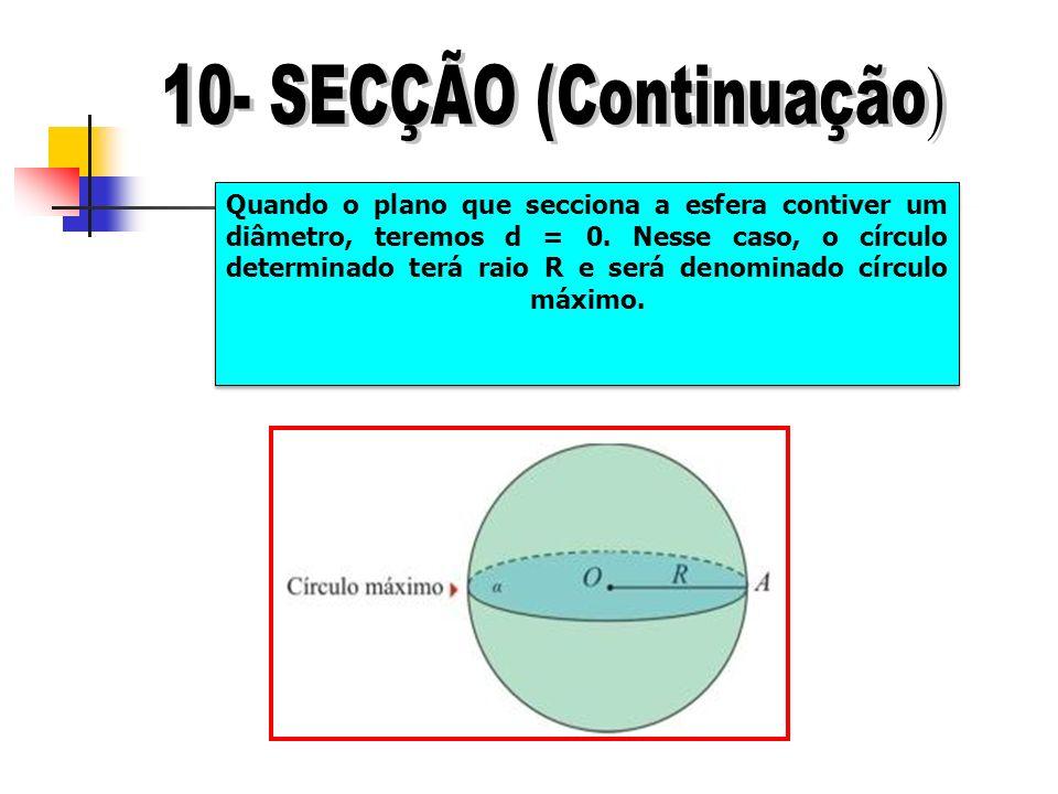 Quando o plano que secciona a esfera contiver um diâmetro, teremos d = 0. Nesse caso, o círculo determinado terá raio R e será denominado círculo máxi