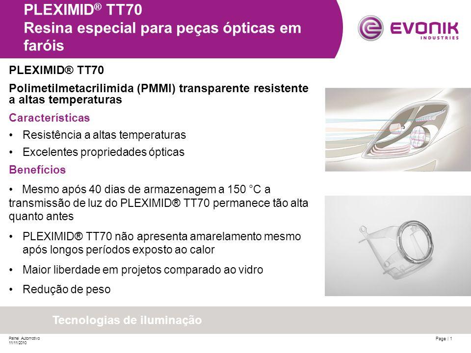 Page | 1 Painel Automotivo 11/11/2010 PLEXIMID ® TT70 Resina especial para peças ópticas em faróis PLEXIMID® TT70 Polimetilmetacrilimida (PMMI) transp