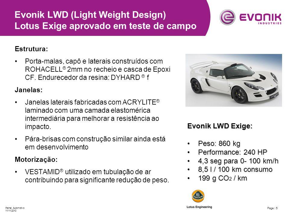 Page | 5 Painel Automotivo 11/11/2010 Evonik LWD (Light Weight Design) Lotus Exige aprovado em teste de campo Evonik LWD Exige: Peso: 860 kgPeso: 860