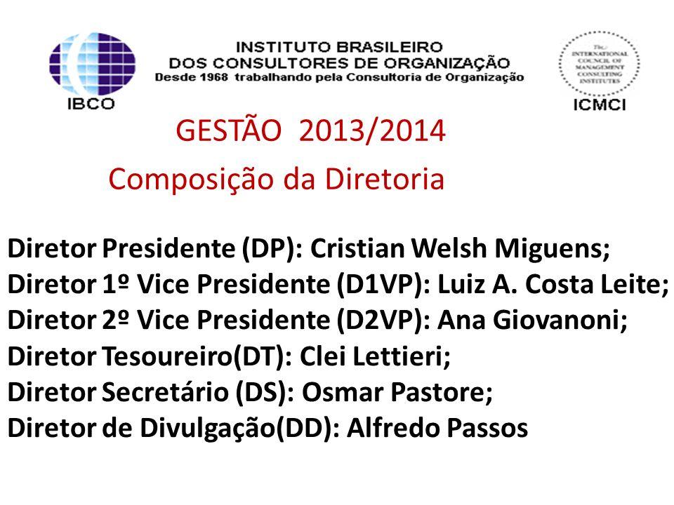 GESTÃO 2013/2014 Composição da Diretoria Diretor Presidente (DP): Cristian Welsh Miguens; Diretor 1º Vice Presidente (D1VP): Luiz A. Costa Leite; Dire