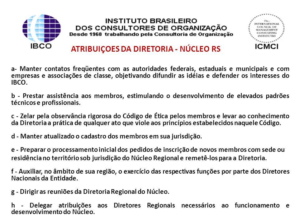 ATRIBUIÇOES DA DIRETORIA - NÚCLEO RS a- Manter contatos freqüentes com as autoridades federais, estaduais e municipais e com empresas e associações de classe, objetivando difundir as idéias e defender os interesses do IBCO.