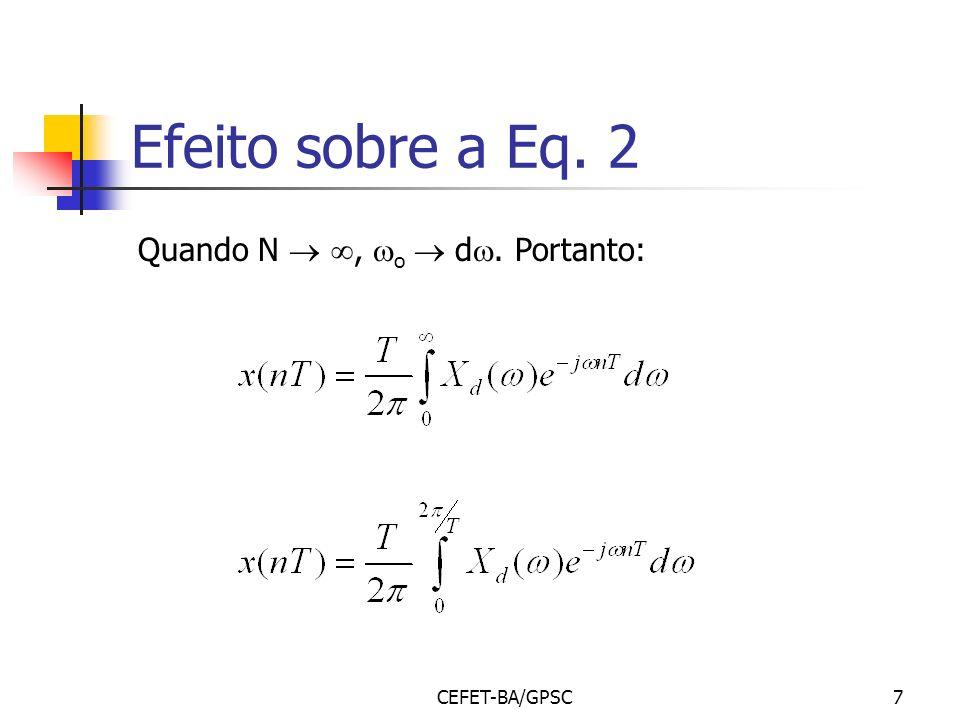 CEFET-BA/GPSC7 Efeito sobre a Eq. 2 Quando N, o d. Portanto: