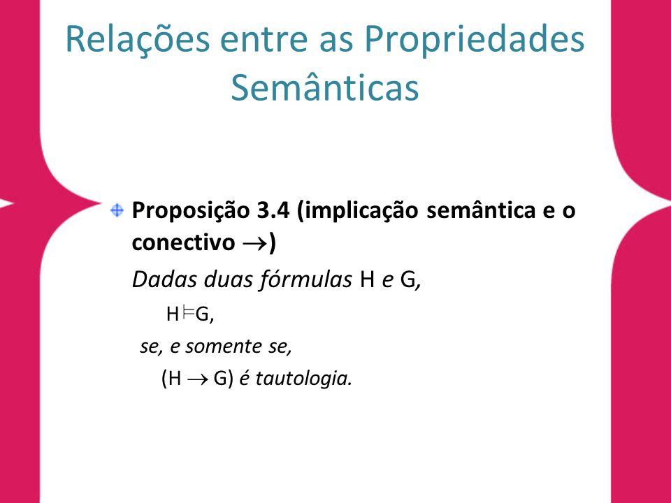 Relações entre as Propriedades Semânticas Proposição 3.4 (implicação semântica e o conectivo ) Dadas duas fórmulas H e G, H G, se, e somente se, (H G)