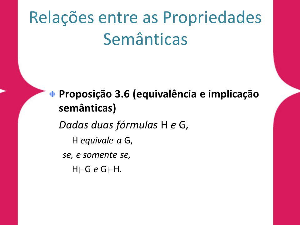 Relações entre as Propriedades Semânticas Proposição 3.6 (equivalência e implicação semânticas) Dadas duas fórmulas H e G, H equivale a G, se, e somen