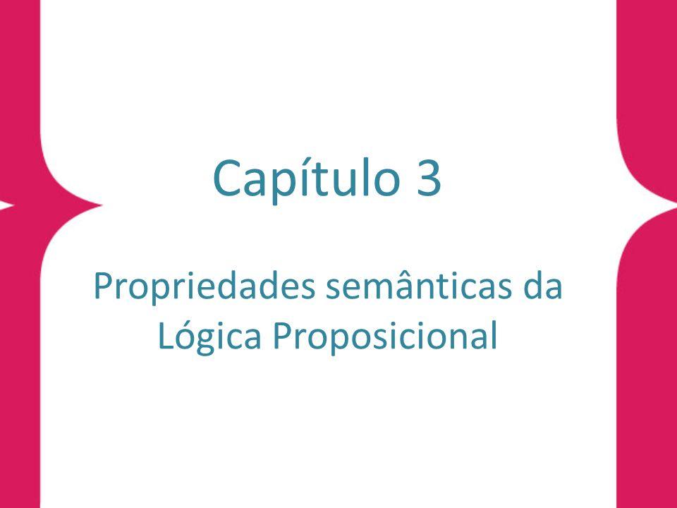 Introdução Propriedades Semânticas Denição 3.1 (propriedades semânticas básicas da Lógica Proposicional) Sejam H, G, H 1, H 2,...,H n, fórmulas da Lógica Proposicional.