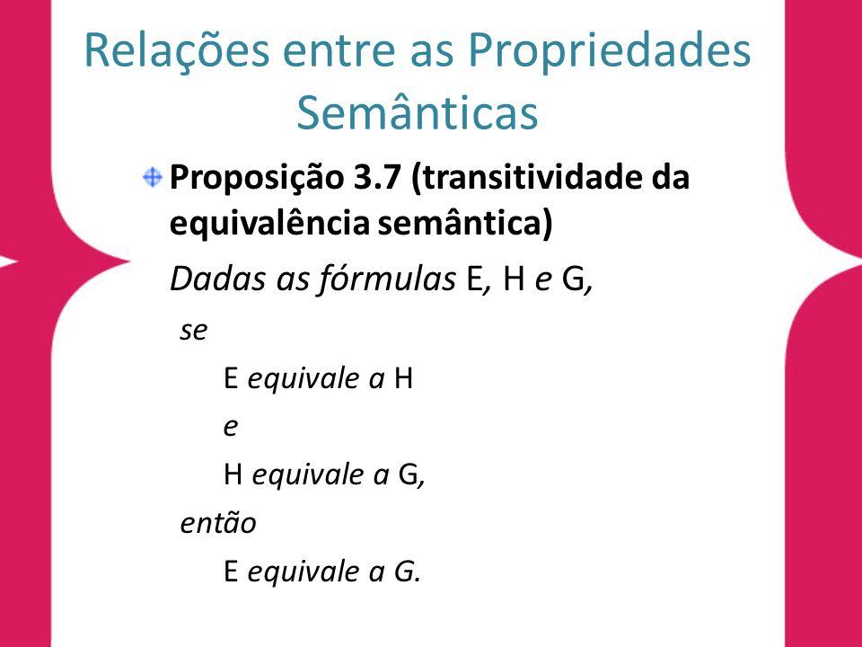 Relações entre as Propriedades Semânticas Proposição 3.7 (transitividade da equivalência semântica) Dadas as fórmulas E, H e G, se E equivale a H e H