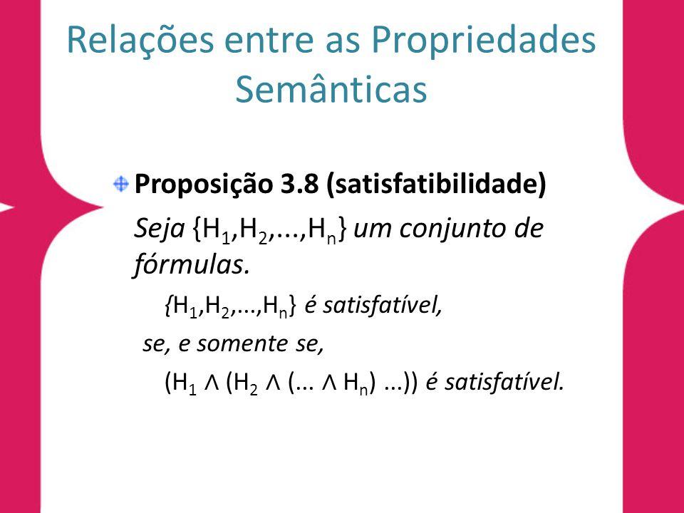 Relações entre as Propriedades Semânticas Proposição 3.8 (satisfatibilidade) Seja {H 1,H 2,...,H n } um conjunto de fórmulas. {H 1,H 2,...,H n } é sat