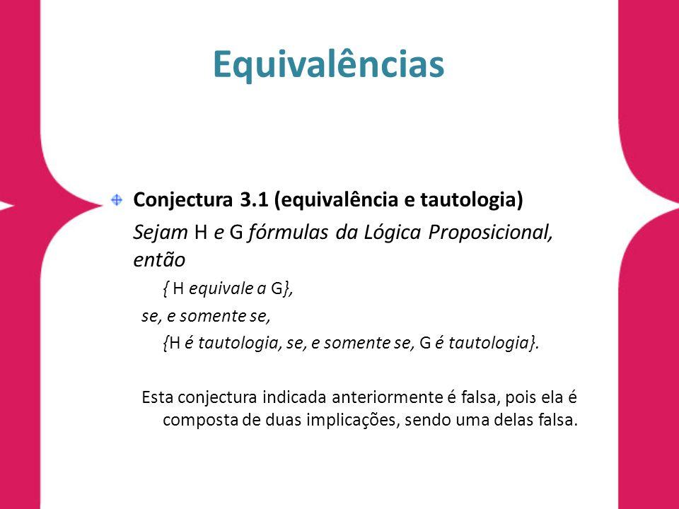 Equivalências Conjectura 3.1 (equivalência e tautologia) Sejam H e G fórmulas da Lógica Proposicional, então { H equivale a G}, se, e somente se, {H é