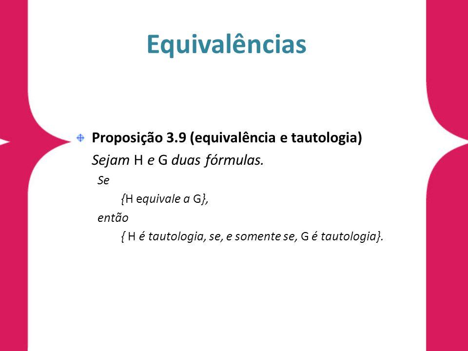 Equivalências Proposição 3.9 (equivalência e tautologia) Sejam H e G duas fórmulas. Se {H equivale a G}, então { H é tautologia, se, e somente se, G é