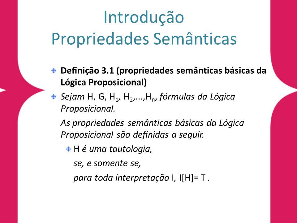 Introdução Propriedades Semânticas Denição 3.1 (propriedades semânticas básicas da Lógica Proposicional) H é satisfatível, se, e somente se, existe uma interpretação I, tal que I[H]= T.