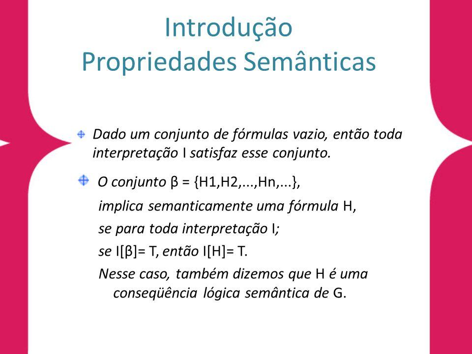 Introdução Propriedades Semânticas Dado um conjunto de fórmulas vazio, então toda interpretação I satisfaz esse conjunto. O conjunto β = {H1,H2,...,Hn
