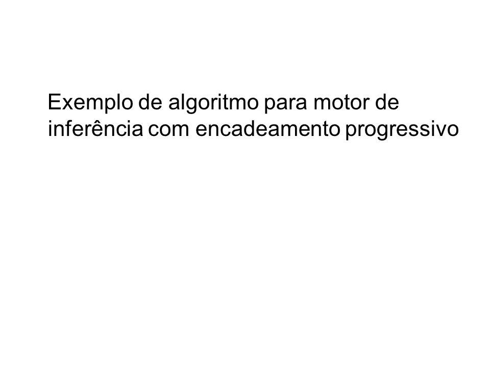 Exemplo de algoritmo para motor de inferência com encadeamento progressivo