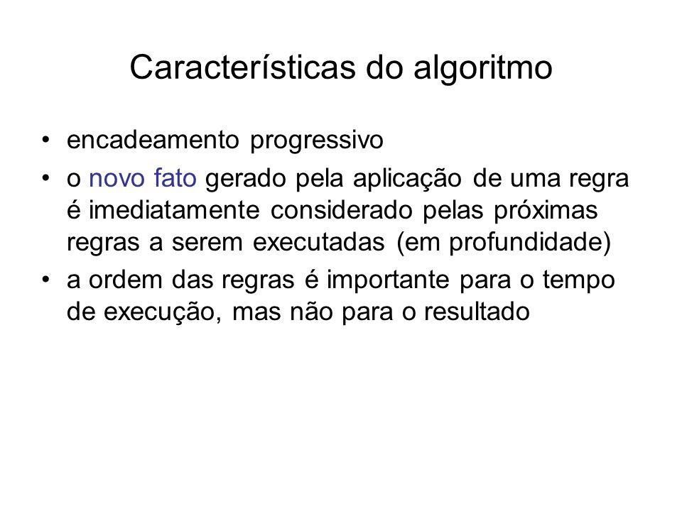 Características do algoritmo encadeamento progressivo o novo fato gerado pela aplicação de uma regra é imediatamente considerado pelas próximas regras