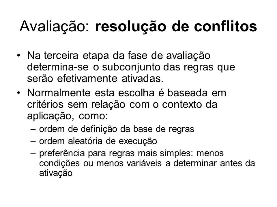 Avaliação: resolução de conflitos Na terceira etapa da fase de avaliação determina-se o subconjunto das regras que serão efetivamente ativadas. Normal