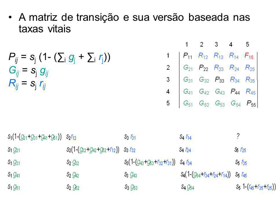 A matriz de transição e sua versão baseada nas taxas vitais P ij = s j (1- ( i g j + i r j )) G ij = s j g ij R ij = s j r ij