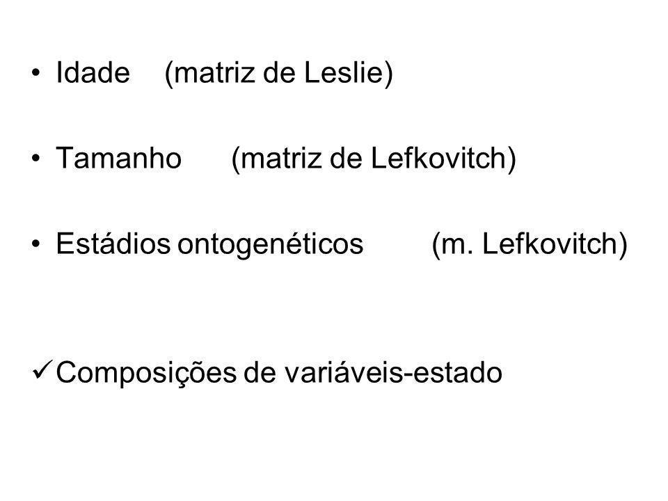 Idade(matriz de Leslie) Tamanho(matriz de Lefkovitch) Estádios ontogenéticos(m. Lefkovitch) Composições de variáveis-estado