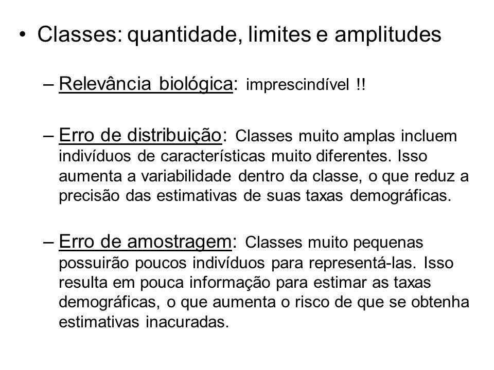Classes: quantidade, limites e amplitudes –Relevância biológica: imprescindível !! –Erro de distribuição: Classes muito amplas incluem indivíduos de c