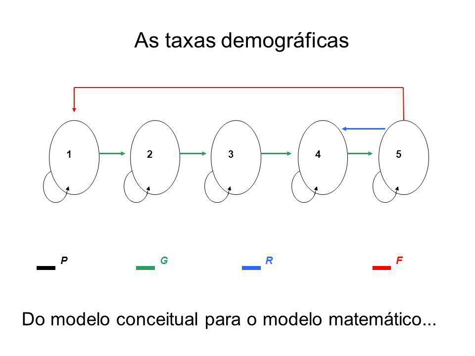 Matriz de transição –Colunas: origem (estado em t) –Linhas: destino (estado em t + 1)
