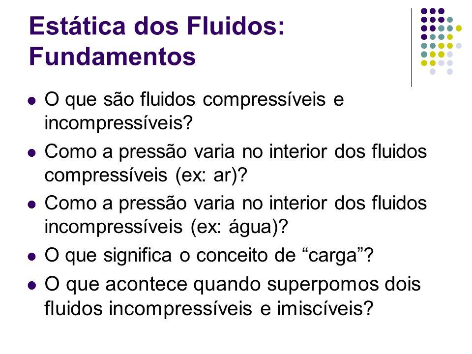 Estática dos Fluidos: Fundamentos O que são fluidos compressíveis e incompressíveis? Como a pressão varia no interior dos fluidos compressíveis (ex: a