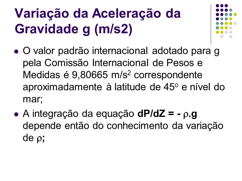 O valor padrão internacional adotado para g pela Comissão Internacional de Pesos e Medidas é 9,80665 m/s 2 correspondente aproximadamente à latitude d