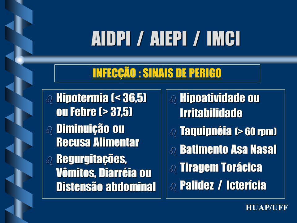 AIDPI / AIEPI / IMCI b Hipotermia ( 37,5) b Diminuição ou Recusa Alimentar b Regurgitações, Vômitos, Diarréia ou Distensão abdominal INFECÇÃO : SINAIS