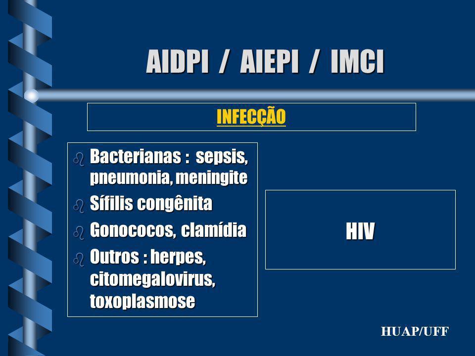 AIDPI / AIEPI / IMCI b Bacterianas : sepsis, pneumonia, meningite b Sífilis congênita b Gonococos, clamídia b Outros : herpes, citomegalovirus, toxopl
