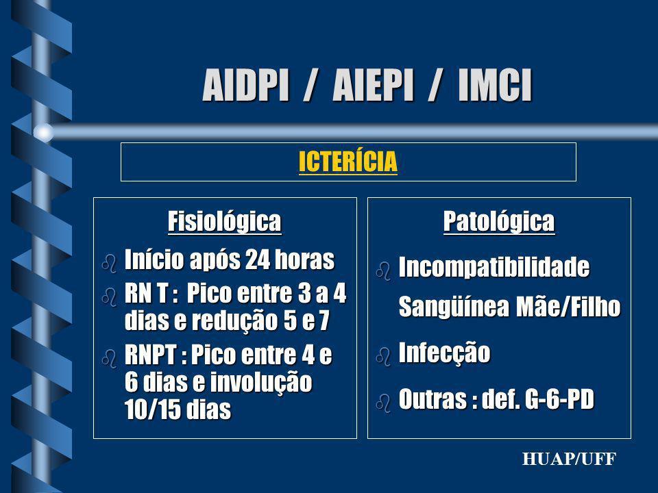 AIDPI / AIEPI / IMCI Fisiológica b Início após 24 horas b RN T : Pico entre 3 a 4 dias e redução 5 e 7 b RNPT : Pico entre 4 e 6 dias e involução 10/1