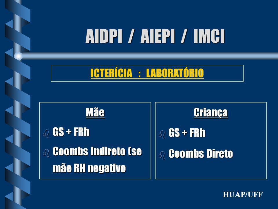 AIDPI / AIEPI / IMCI Mãe b GS + FRh b Coombs Indireto (se mãe RH negativo ICTERÍCIA : LABORATÓRIO Criança b GS + FRh b Coombs Direto HUAP/UFF