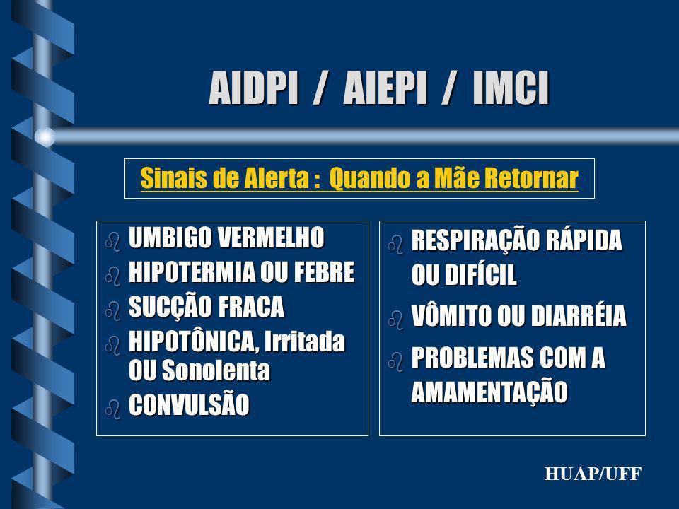 AIDPI / AIEPI / IMCI b UMBIGO VERMELHO b HIPOTERMIA OU FEBRE b SUCÇÃO FRACA b HIPOTÔNICA, Irritada OU Sonolenta b CONVULSÃO Sinais de Alerta : Quando